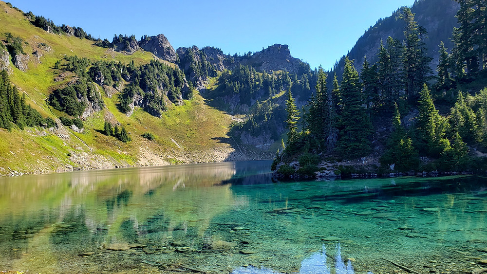 A clear, blue lake