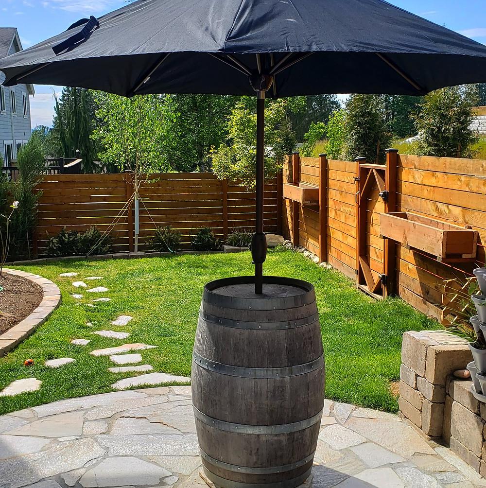 A barrel with an umbrella