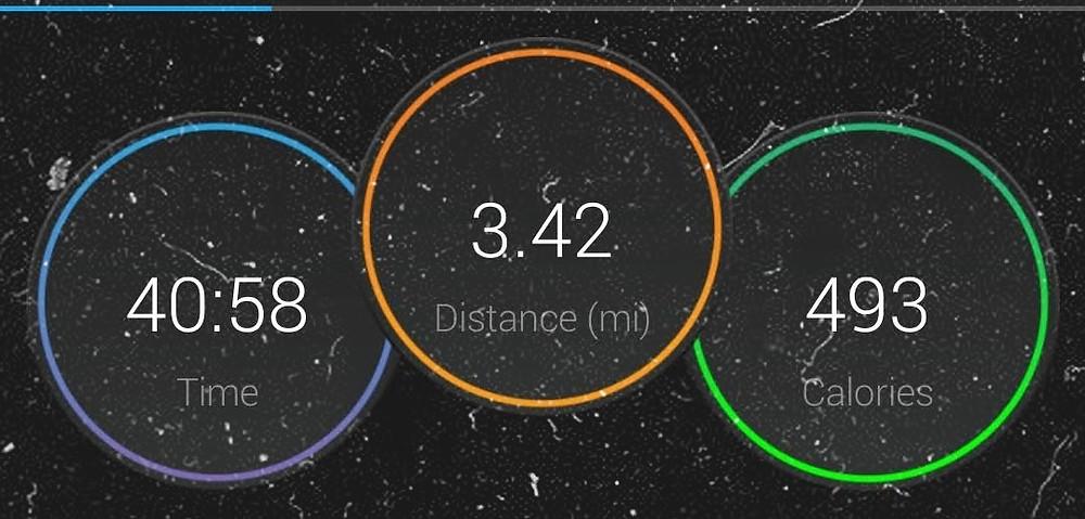40:58 time, 3.42 miles, 493 calories