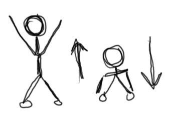 Stick figures doing stretches