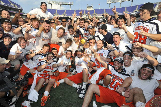 Wyatt and team celebrate after a 9-7 win over Maryland.