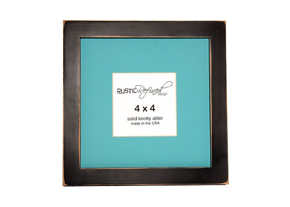 "8x8 1"" Gallery Picture Frame - Black - 4x4 Teal Matte"