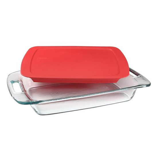Pyrex Easy Grab Covered Casserole Dish, Three Quarts