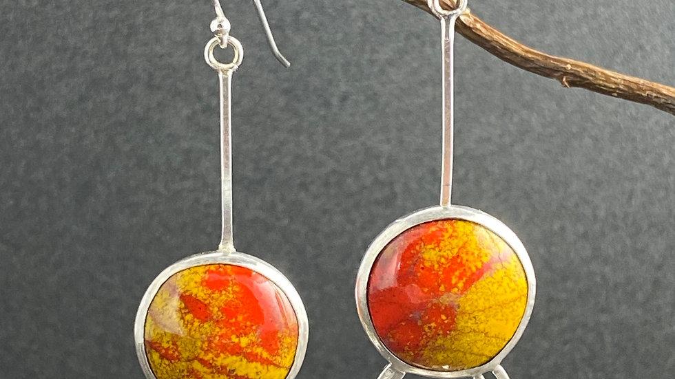 Red/Yellow Enamel Earrings
