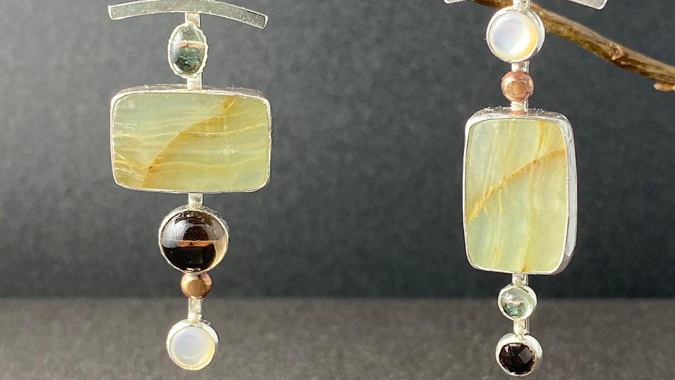 Calcite and Quartz Earrings