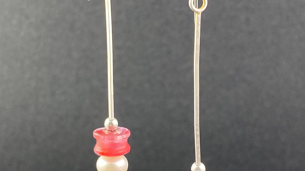 Pink & Pearl Earrings