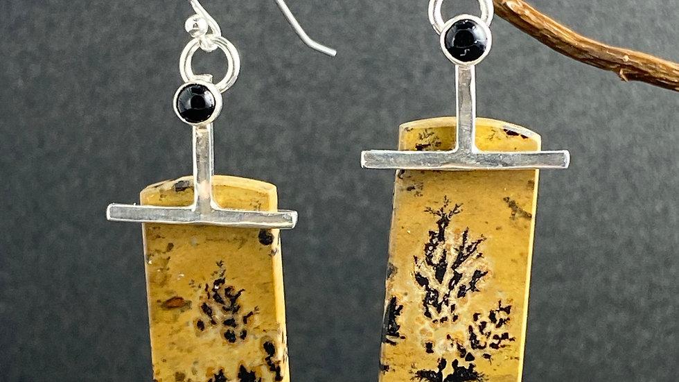 Dendritic Jasper and Onyx Earrings