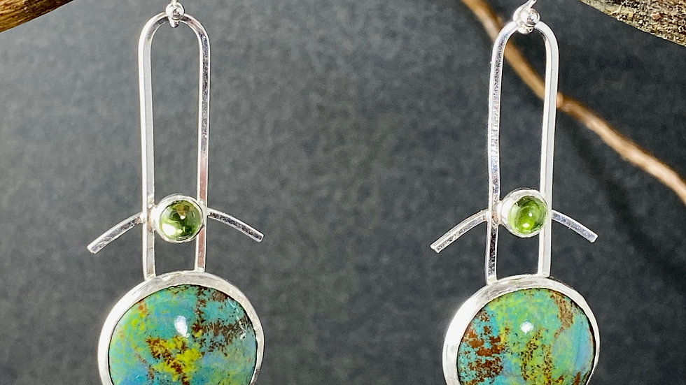 Enamel & Peridot Earrings
