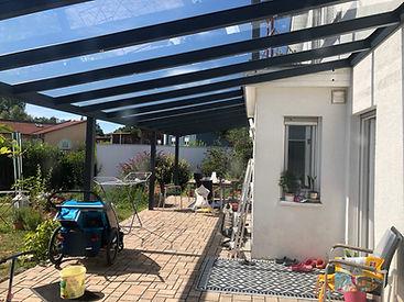 Terrassenüberdachung Alu Klarglas 4 Meter Tiefe