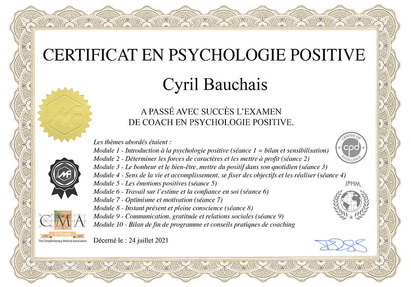Copie de la certification en psychologie positive de Cyril Bauchais