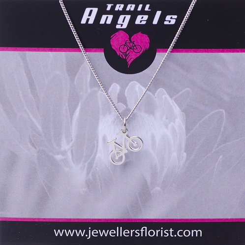 Sterling silver necklace with bike charm