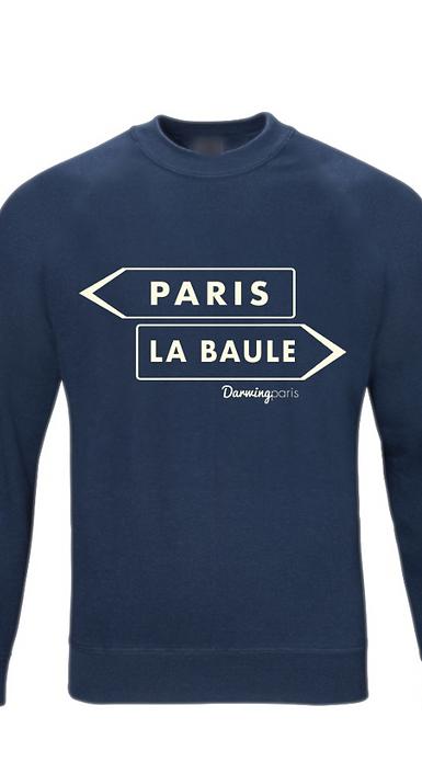 """Sweat """"PARIS / LA BAULE"""" Navy"""