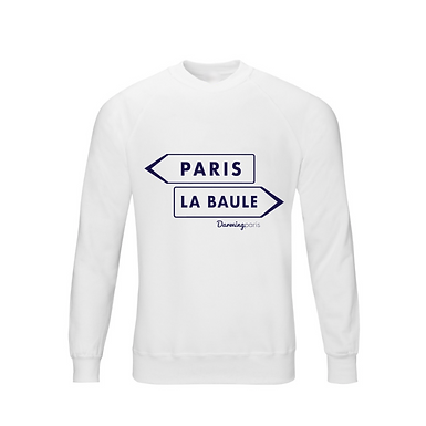 "Sweat ""PARIS / LA BAULE"" Blanc Chiné"