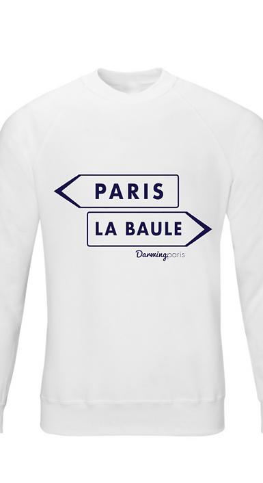 """Sweat """"PARIS / LA BAULE"""" Blanc Chiné"""