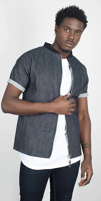 Chemise courte  PAOLO Zip JEAN