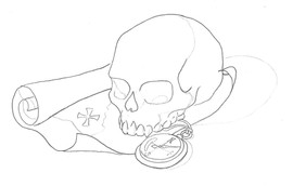Map and Skull Lineart