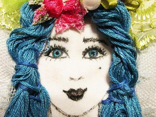 Shabby Chic Pouch-Blue Hair Girl