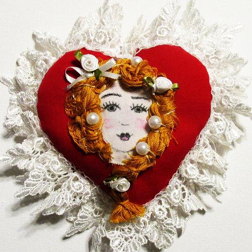 Shabby Chic Heart,Valentine's Day Heart, Red Heart, Victorian Heart