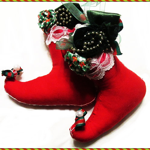 Christmas Boot Ornaments, Shabby Chic Ornaments