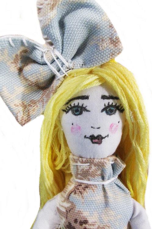 Shabby Chic Doll, Toile Dressed Doll, Cute Doll