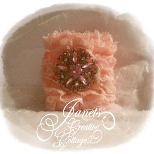 Fabric Cuff- Pink Ruffles