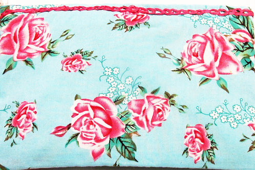 Shabby Chic Roses Makeup Bag, Pink Roses Makeup Bag, Turquoise Bag