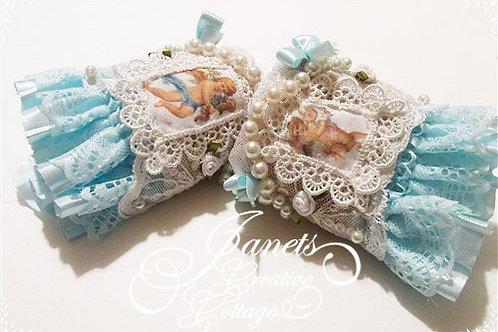 Shabby Chic Fabric Cuffs-Heaven Sent