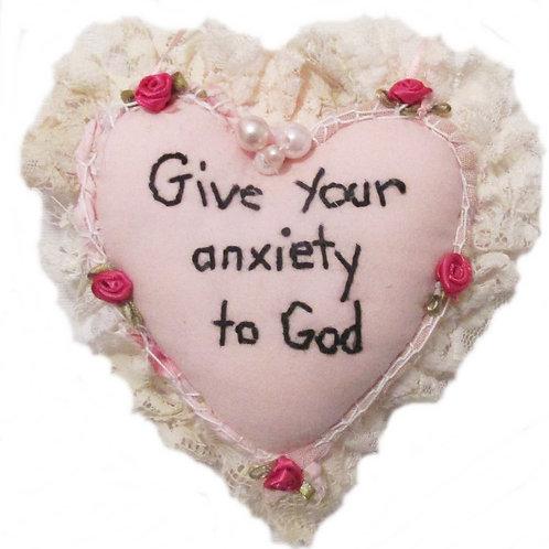 Anxiety Heart Pillow Ornament, Handmade Pink Heart Ornament Pillow