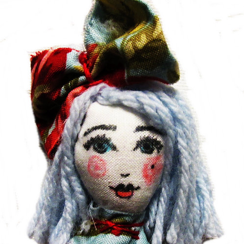 Shabby Chic Doll Ornament, Handmade Decoration