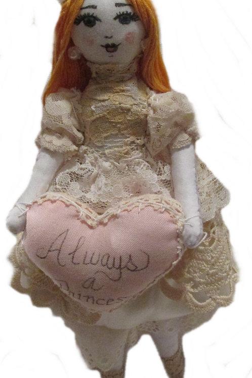 Shabby Chic Princess Doll, Handmade Doll, Cute Doll