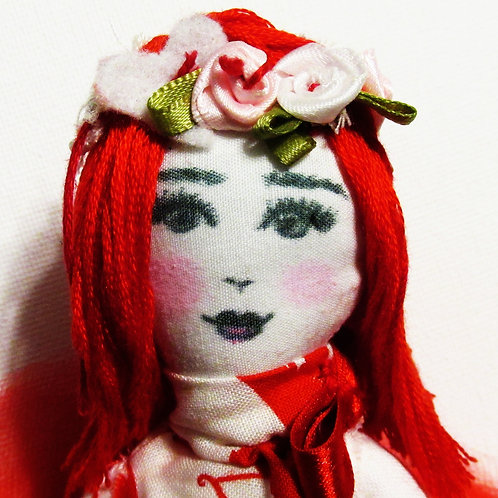 Valentine's Day Doll-Shabby Chic Doll-Red Hair Doll
