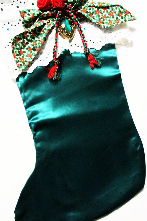 Shabby Chic Christmas Stocking, Green Christmas Stocking