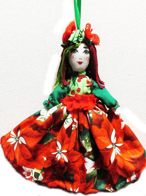 Christmas Doll Ornament, Shabby Chic Doll Ornament