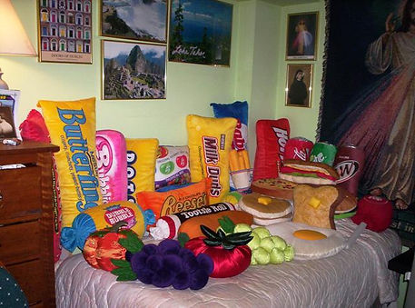This photo is from Becky Geiger who collects food pillows ordered a few of our vegetable and fruit pillows