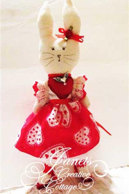 Handmade Fabric Bunnies-Be My Valentine