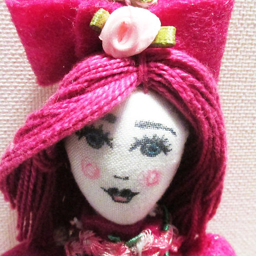 Shabby Chic Doll-Fuchsia Rose, Handmade Doll