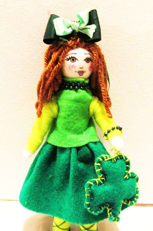 St. Patrick's Day Clover Doll, Handmade Doll, Green Doll