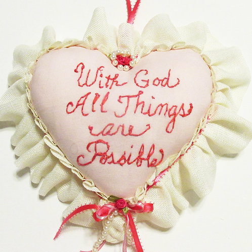 With God All Things Are Possible Heart Pillow