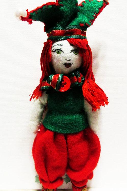 Shabby Chic Christmas Joker Doll, Handmade Doll