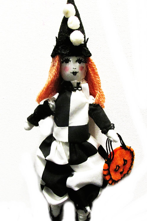 Checkered Clown Doll, Halloween Doll, Cute Clown