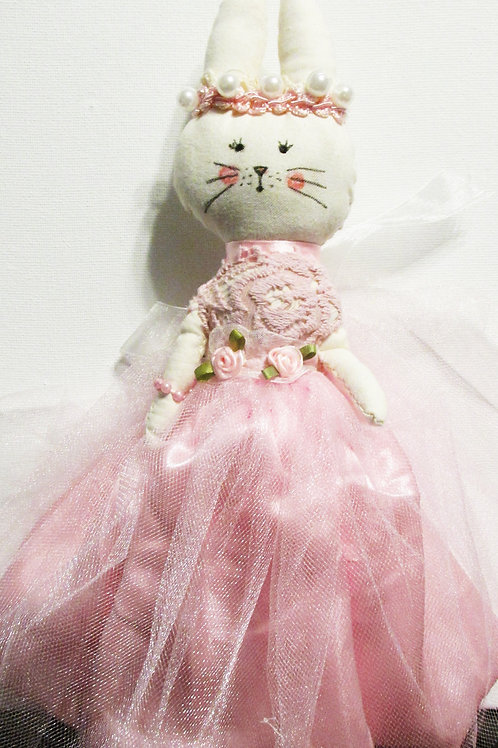 Shabby Chic Bunny Doll, Bunny in Pink