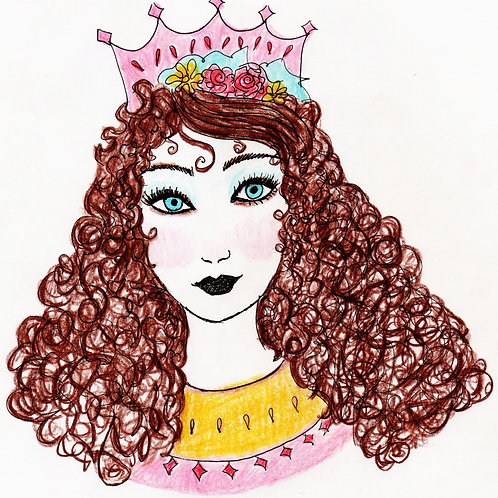 Always a Princess,Digital Art Illustration, Hand drawn