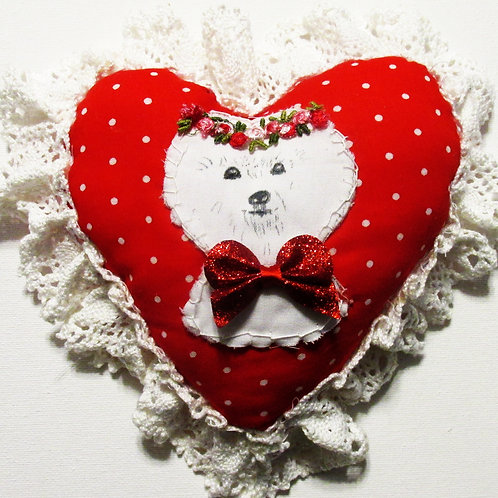 Shabby Chic Heart, Bichon Frise, Valentine's Day Heart, Red Heart