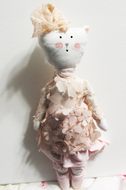 Shabby Chic Cat Doll, Handmade Cat Doll