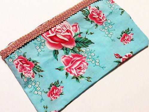 Shabby Chic Roses Fabric Bag-Makeup Bag, Cosmetics bag