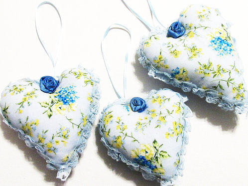Shabby Chic Flower Heart Ornaments