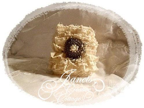 Fabric Cuff-Shabby Beige Ruffles
