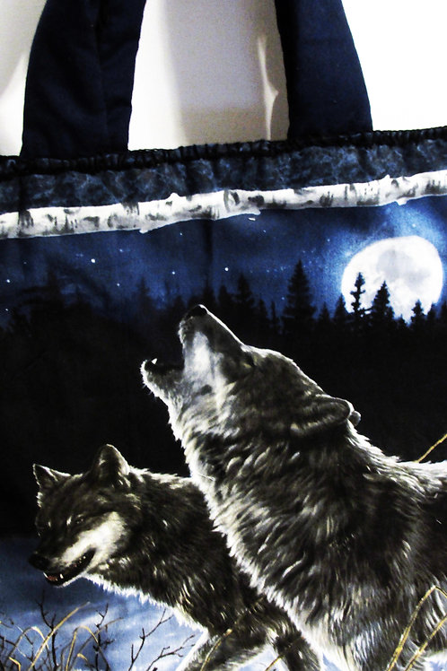 Wolf Tote Bag, Wolves Tote, Handmade Tote