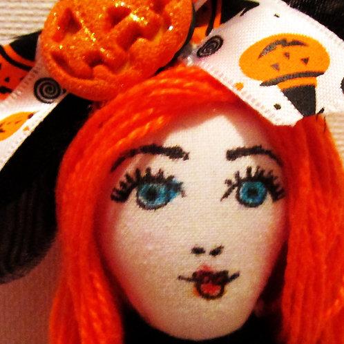 Halloween Orange and Black Doll, Handmade Spooky Doll