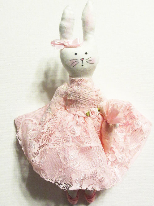 Shabby Chic Bunny Doll, Pink Bunny, Handmade Bunny Doll
